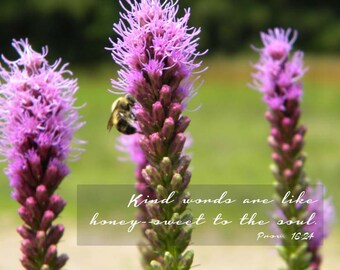 Be kind - Bee with purple flowers and inspirational quote - Nature print - Instant download - 8 x 10