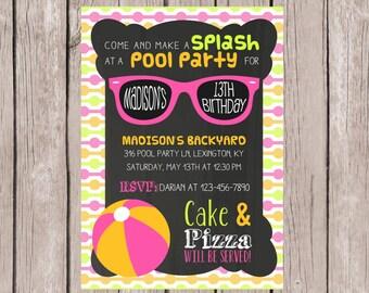 PRINTABLE- Pool Party invitation- Birthday invite- Summer pool invitation- Girl's Pool Party Invite- 13th Birthday Invite- 5x7 JPG
