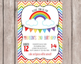 PRINTABLE- Rainbow Birthday Invitation- 5x7 JPG