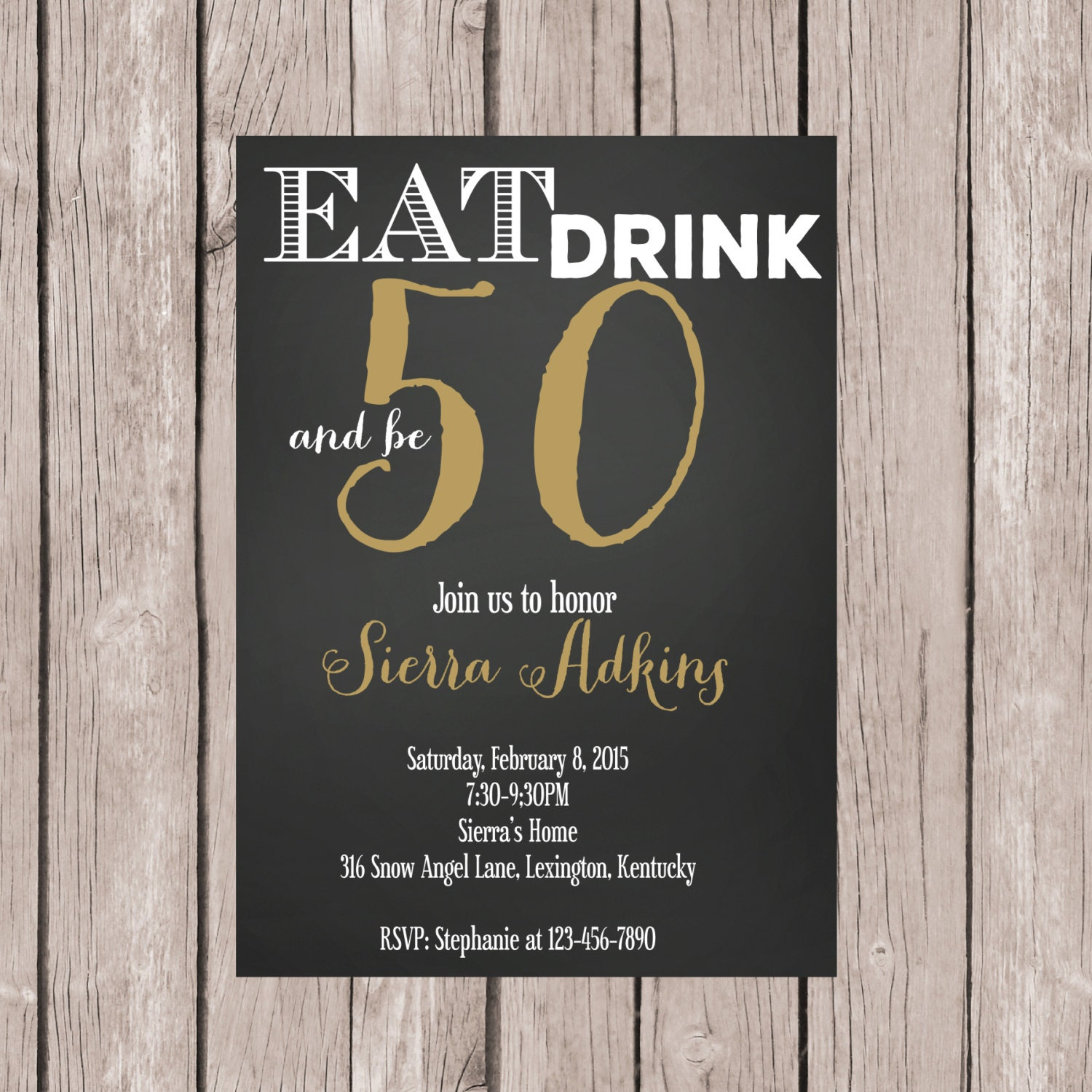 PRINTABLE 50th Birthday Invite 50th Birthday Invitation