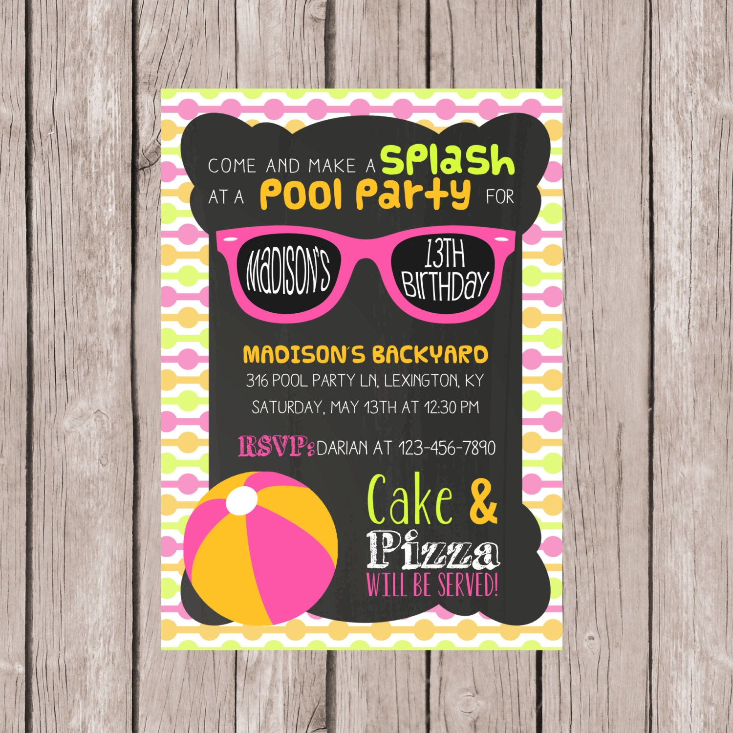 PRINTABLE Pool Party invitation Birthday invite Summer pool – Thirteenth Birthday Invitations