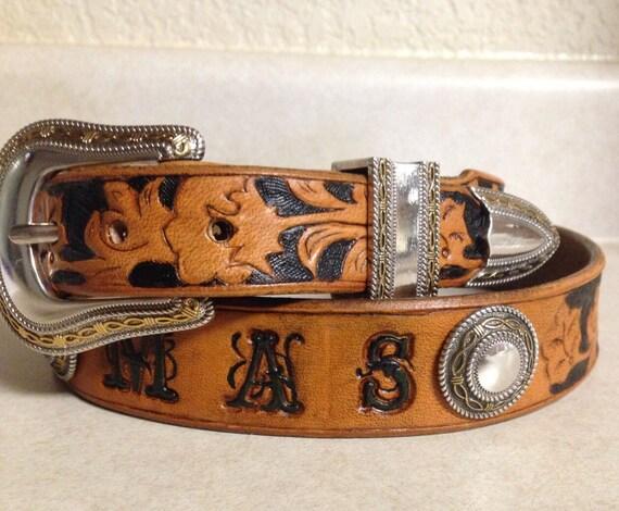 custom leather belt handmade and tooled