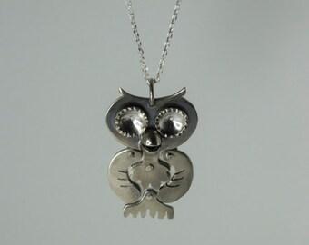 Silver Owl Necklace - Handcraft Bird Pendant - Handmade Jewelry