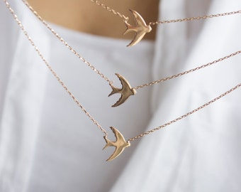 Necklaces Statement  / Swallow Bird Layered, Sterling Silver Necklace, Rose Gold Plated