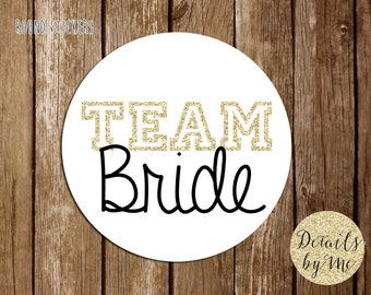 Team Bride Stickers, Gift labels, Round labels, Personalized labels, Gift bag Stickers, Stickers 2""
