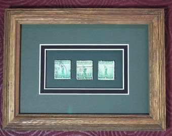 Framed Stamp Art! Statue of Liberty! Industry! Agriculture! For Defense! Acid Free! Collectible Postage Stamps! Ready to Hang! USPS!