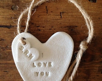 White clay heart / personalised gift / Mother's Day / Valentine's day / wedding anniversary / new baby gift / anniversary gift