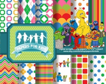 Digital Papers, Sesame Street, Background, Kids, Birthday, Clipart