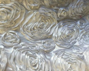 """Rosette Satin Fabric WHITE / 54"""" Wide / Sold by the yard"""