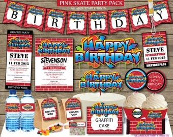 Instant Download- Graffiti Party Pack Printables-for personal use only-digital file
