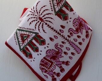 Vegetable dyed hand Block printed Napkin table linen cloth napkin organic cotton fabric napkin Elephant pattern  napkin eco friendlay napkin