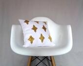 White Linen Pillow Cover Gold Southwestern Navajo Cushion Geometric Natural Organic Euro Lumbar Large Metallic Shiny Trendy Bedding Accent