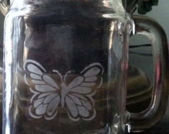 Mason Jar Glass with Butterfly etched