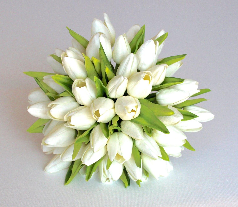 WHITE WEDDING BOUQUET White Tulip Wedding Bouquet Bridal