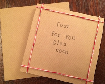 Four For You Glen Coco, Mean Girls quote handmade Christmas card
