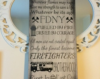 Firefighter wood sign. Personalized fireman sign