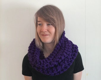 SALE Chunky Knitted Scarf Cowl Purple - Ava Cowl