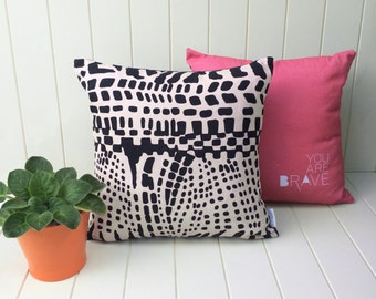 PILLOW CUSHION COVER Limited Edition Print Reversible Eco Friendly Hemp