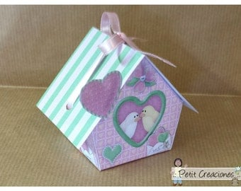 "PRINTABLE GIFT (or treats) BOX ""Birds in love"" (digital template)"