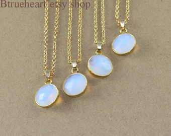 Opal Round Opal Necklace,Opal Stone Necklace,Opal Necklace With Gold Chain,Bridesmaids Necklaces