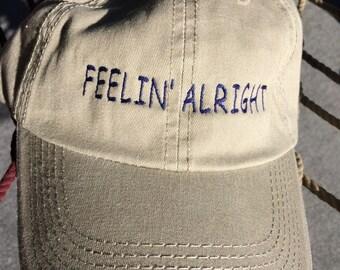 Feelin' Alright - Khaki w/Navy Blue Lettering