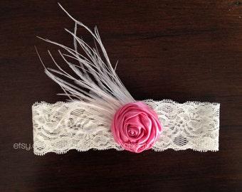 hot pink flower headband, rose headband, baby headband, lace baby headband, flower girl headband, baptism headband