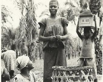Congo Belge - Street Market - Vendors, 1956 Postcard with Postage