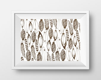 Black and White Feather Art Print