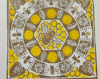 Bee Mandala - original hand-pulled linocut, hand-coloured and gilded; 15 x 15 cm