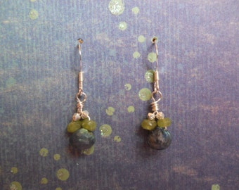 Matte Peridot, Spectrolite Sterling Silver Dangle Earrings, Beaded Earrings, Simple Boho Earrings