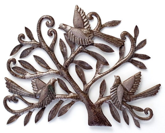 """Tree of Life, Birds with 3-dimentional wings nesting in Tree, Recycled Metal Steel Barrel 19.5"""" x 15"""""""