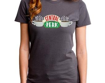 Friends Central Perk (FRI0026-102CHR) Women's T-shirt. Friends TV show, New York, NYC, Chandler, Ross, Monica, Phoebe, Rachel, Joey, cafe.