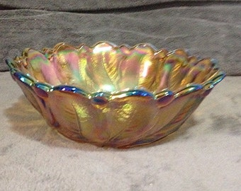 Vintage Footed Carnival Glass Bowl