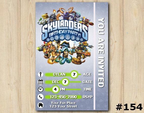 Skylanders Invitation Swap Force Birthday Party Printable Custom Invite154
