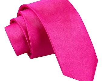 Satin Hot Pink Skinny Tie