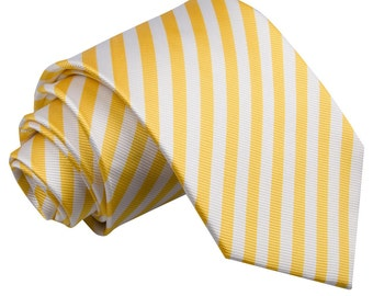 Thin Stripe White & Yellow Tie