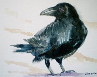 Black Crow watercolor, original crow watercolor, Raven painting,  Mat included