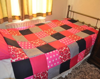 Patchwork Quilt Vintage Retro Patchwork Quilt, Sofa Throw, Handmade Patchwork Quilt, Single Bed Patchwork Quilt. Pink Red Navy Quilt