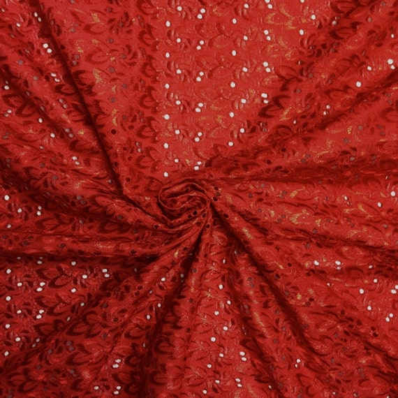 Red eyelet floral embroidery fabric