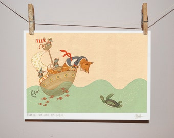 Pirate Fox and his Crew - Children's Illustration Print