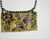 Handmade Gold, Black and Purple Polymer Clay Necklace with Vintage Pocket Watch Parts and Crystals
