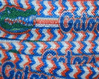 "Florida GATORS inspired college football  5/8"" elastic FOE ribbon  R30CF FOE"