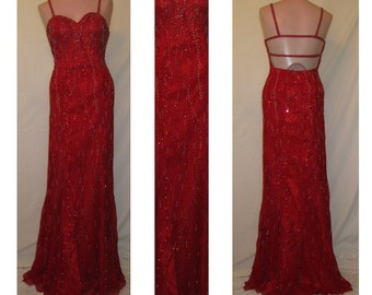 Red and silver beaded gown #20032