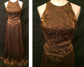 Long gown in Cognac