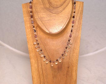 Handmade 18 Inch 14 KT Gold Filled Pink Tourmaline Necklace