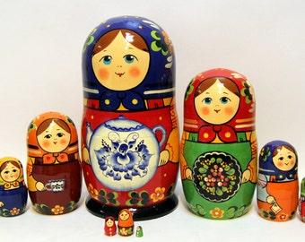 Russian Matryoshka 10 pcs Traditional 25cm (Matreshka). handmade brand new Nested Doll Free Shipping 991