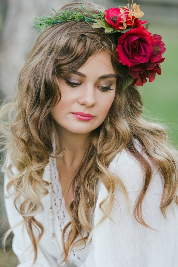 Ruby Red flower crown