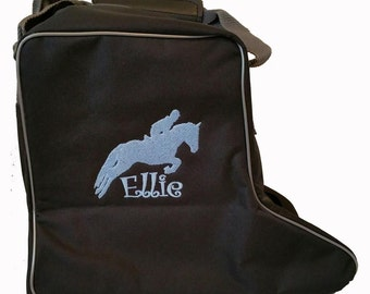 Personalised Embroidered Rhinegold Short Riding Boot Bag - horse pony tack show