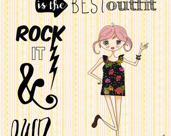 """8x10 CHIC FASHION wall print- """"Pink Hair Dont Care- Rock Your Outfit"""""""