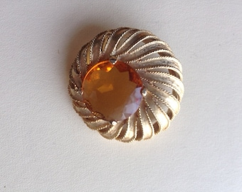 Vintage  Sphinx Swirl Brooch / Gold Tone  Citron Colour / 60s Marked Sphinx Brooch